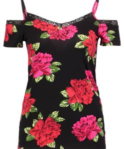 Dorothy Perkins COLD SHOULDER Camiseta print black/red