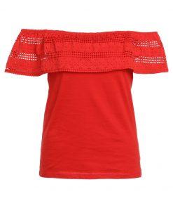Dorothy Perkins RUFFLE BARDOT Camiseta print red