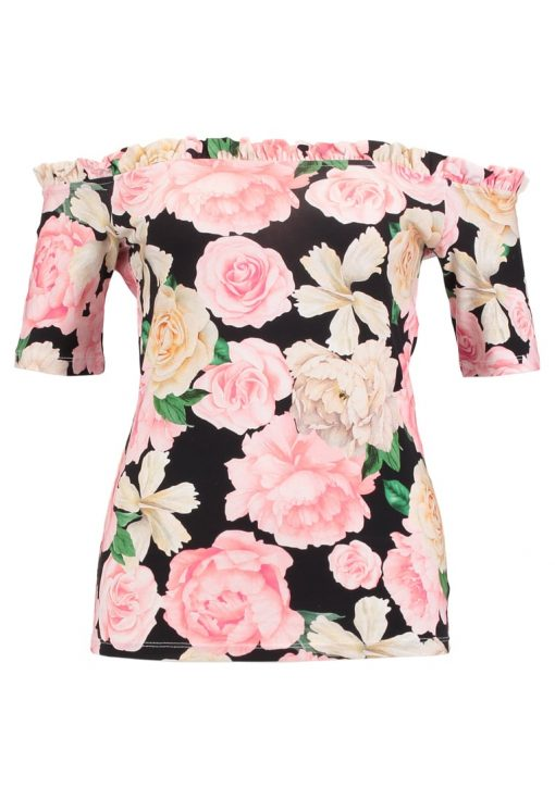 Dorothy Perkins ROSE RUFFLE EDGE BARDOT Camiseta print black