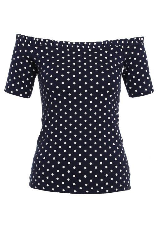 Dorothy Perkins RUFFLE EDGE BARDOT  Camiseta print navy blue