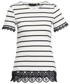 Dorothy Perkins STRIPE LACE Camiseta print navy blue