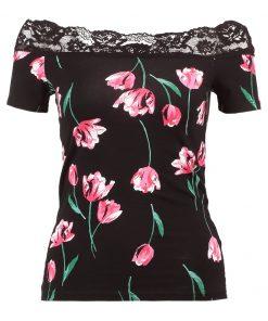 Dorothy Perkins TULIP TRIM BARDOT Camiseta print black