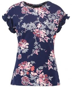 Dorothy Perkins FRILL SLEEVE Camiseta print navy blue
