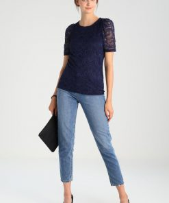 Dorothy Perkins PUFF SLEEVE LACE TEE Blusa navy blue