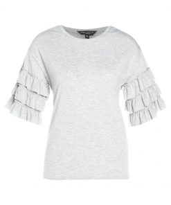 Dorothy Perkins TIER RUFFLR  Camiseta print grey