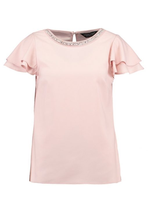 Dorothy Perkins EMBELLISHED NECK RUFFLE SOFT Blusa blush