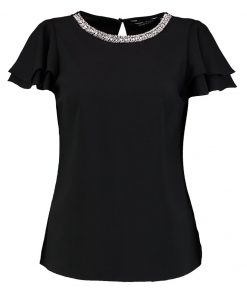 Dorothy Perkins EMBELLISHED NECK RUFFLE SOFT Blusa black