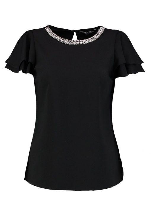 Dorothy Perkins EMBELLISHED NECK RUFFLE SOFT Blusa black