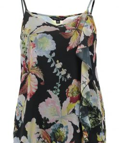 Dorothy Perkins FLORAL RUFFLE Top black