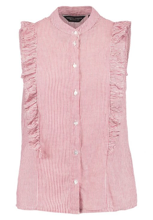 Dorothy Perkins STRIPE FRILL Camisa red