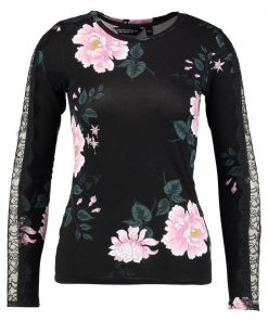 Dorothy Perkins LACE INSERT TOP Camiseta manga larga black print