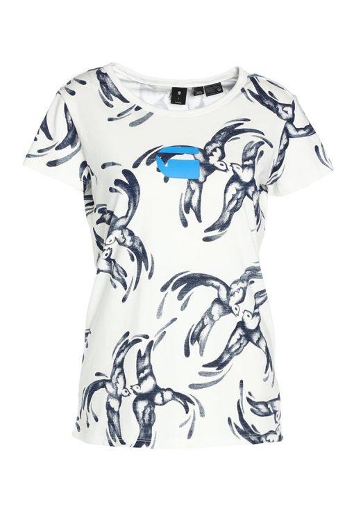 GStar X25 CHINESE WILLOW PRINT Camiseta print milk/sapphire blue ao
