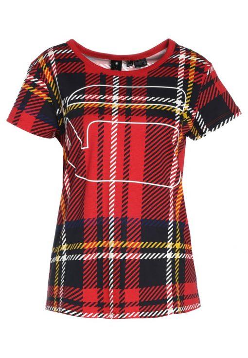GStar X25 ROYAL TARTAN PRINT Camiseta print milk/pompeian red check