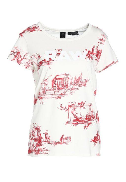 GStar X25 TOILE DE JOUY PRINT Camiseta print milk/chili red ao
