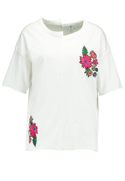 Missguided EMBROIDERED FLORAL  Camiseta print white
