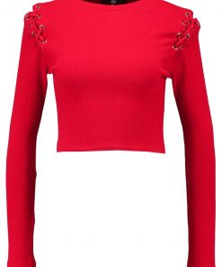Missguided LACE UP SHOULDER  Camiseta manga larga red