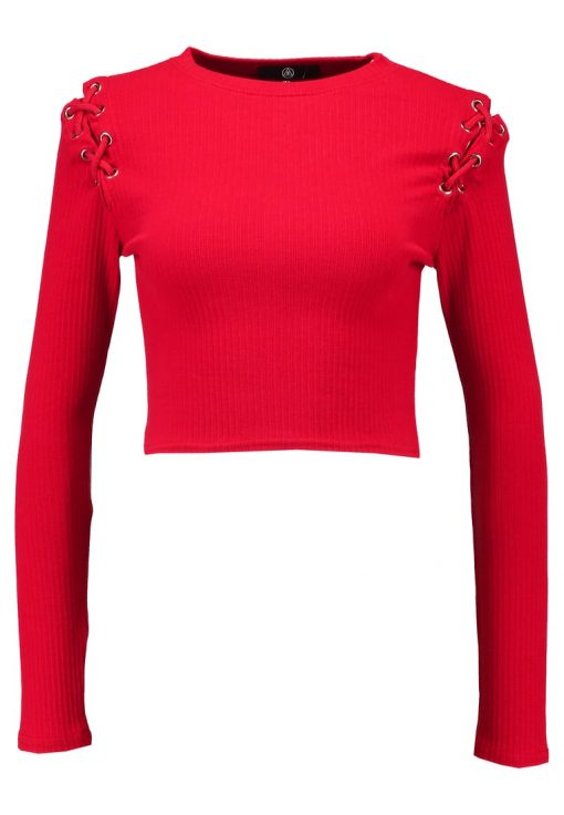 Missguided LACE UP SHOULDER  Camiseta manga larga red