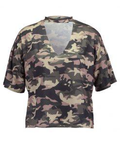 Missguided CHOKER CUT OUT  Camiseta print khaki