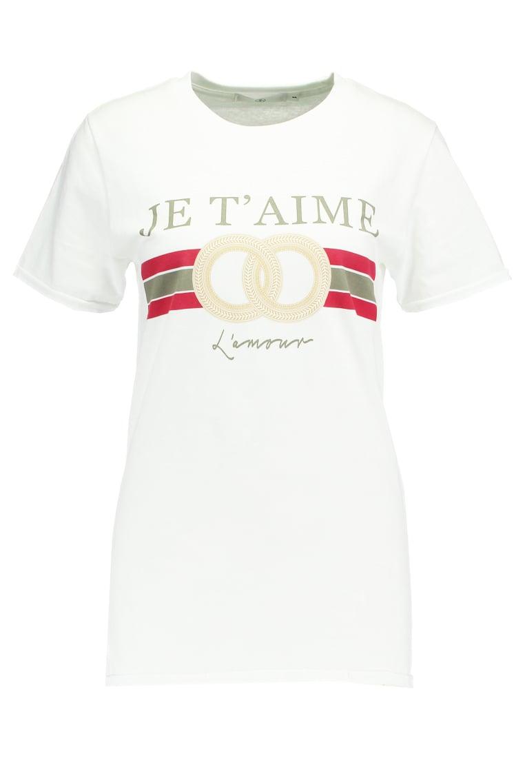 Missguided AIME GRAPHIC OVERSIZED Camiseta print white