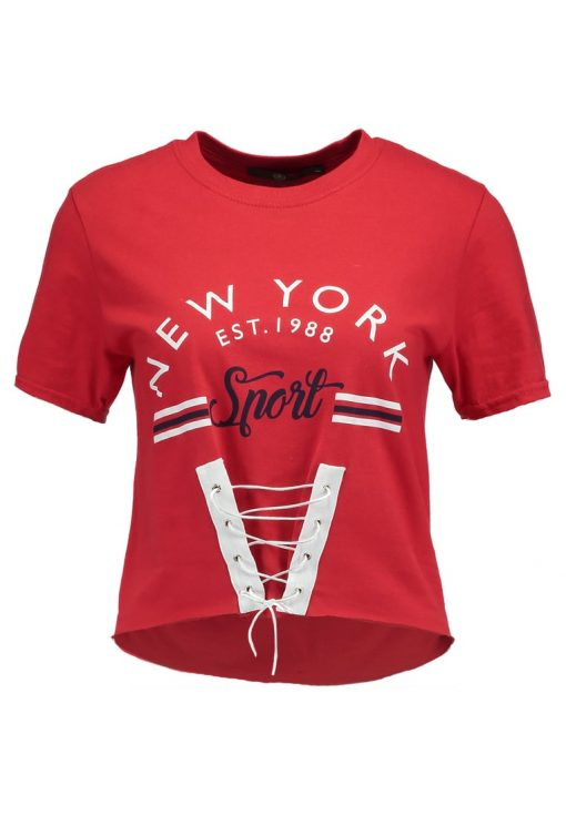 Missguided NEW YORK GRAPHIC CORSET LACE UP FRONT CROP Camiseta print red