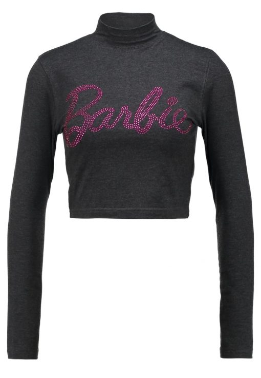 Missguided HOTFIX BARBIE LOGO HIGH NECK CROP  Camiseta print grey