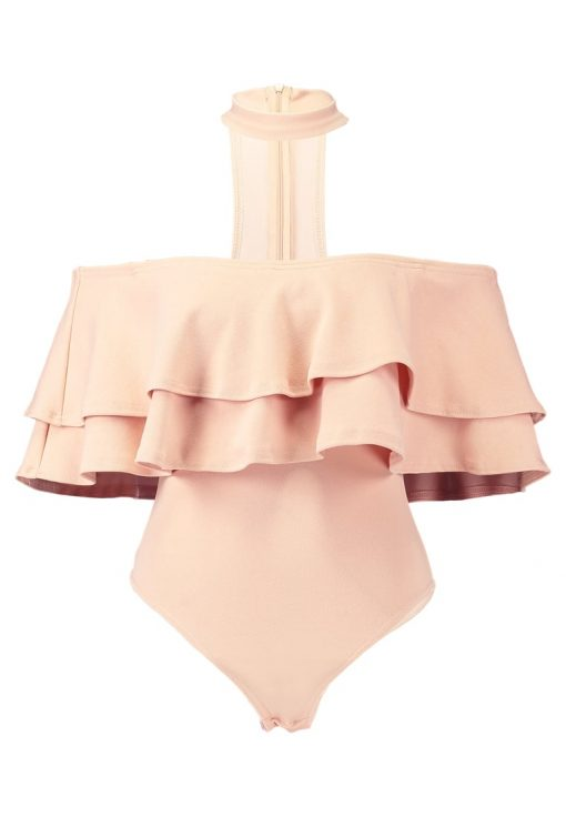 Missguided NUDE FRILL BARDOT CHOKER NECK  Camiseta print neutral