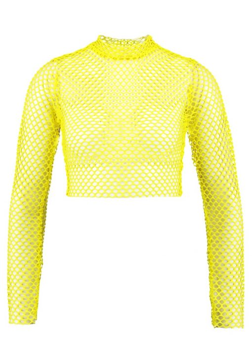 Missguided B&&B FISHNET CROP  Camiseta manga larga yellow