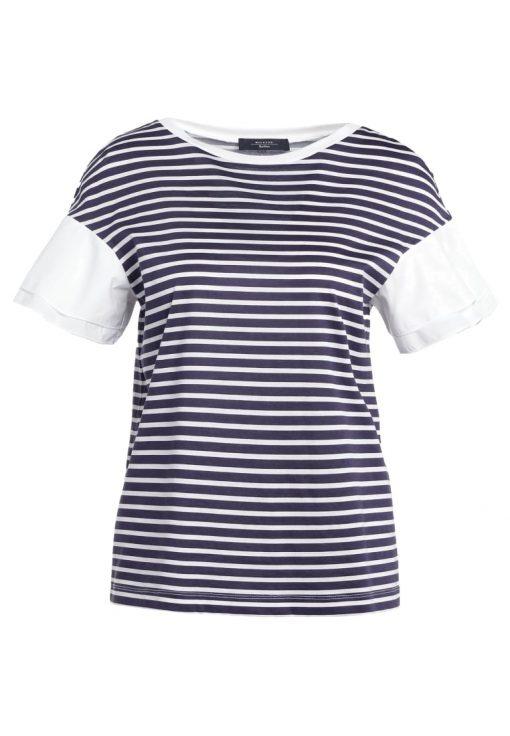 WEEKEND MaxMara PUGNALE Camiseta print riga navy/bianco