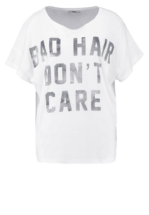 ONLY ONLBAD HAIR DONT CARE Camiseta print white