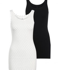 ONLY ONLLIVE LOVE NEW 2 PACK Top black plain/cloud dancer