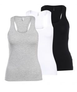 ONLY ONLLIVE 3PACK Top black/light grey melange/white