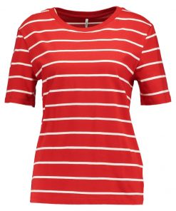 ONLY ONLGREAT STRIPE Camiseta print flame scarlet/cloud dancer