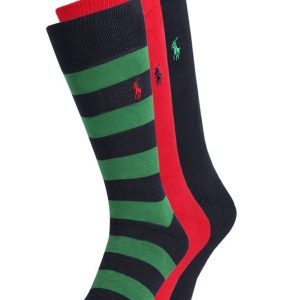 Polo Ralph Lauren RUGBY STRIPE 3 PACK Calcetines red/dark blue/green