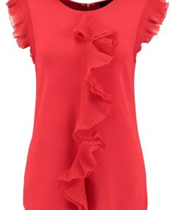 Ted Baker YSABEL FRILL DETAIL  Camiseta print red