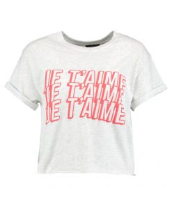 Topshop JE T'AIME CROP Camiseta print light grey