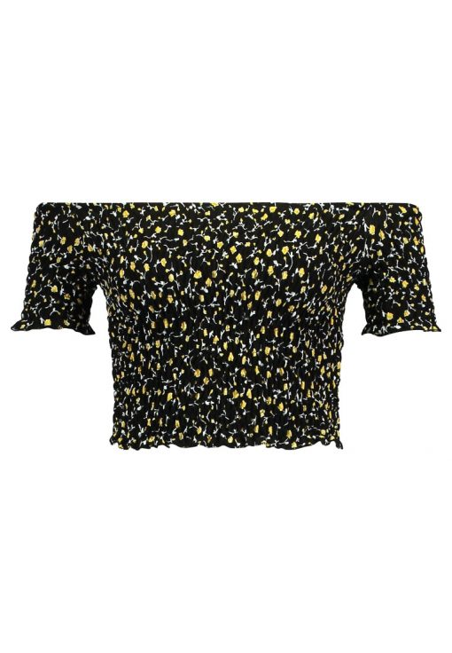 Topshop SHIRRED FLORAL BARDOT Camiseta print black