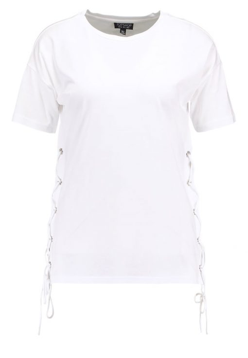 Topshop SIDE LACE UP  Camiseta básica white