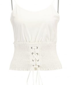Topshop SHIRRED CORSET Top white
