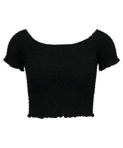 Topshop SHIRRED BARDOT    Camiseta print black