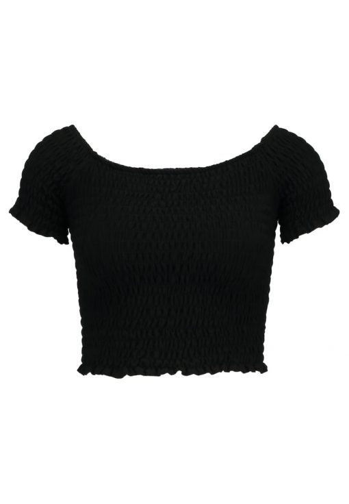 Topshop SHIRRED BARDOT    Camiseta print black
