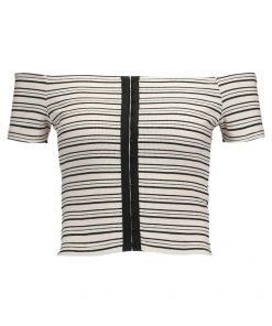 Topshop HOOK +EYE CROP STRIP Camiseta print monochrome