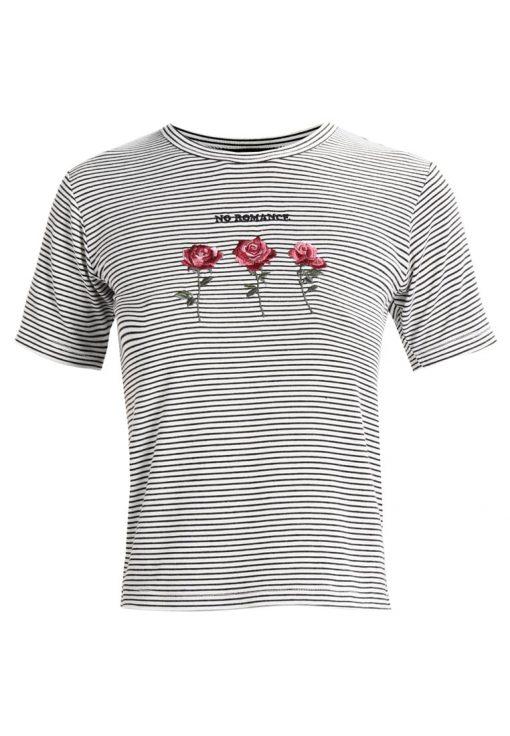 Topshop ROMANCE ROSE STRIPE  Camiseta print monochrome