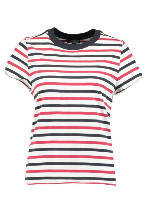 Topshop STRIPE ROLL BACK  Camiseta print red