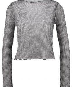 Topshop CHAINMAIL LETTUCE Camiseta manga larga silver