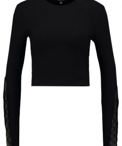 Topshop LATTICE SLEEVE Camiseta manga larga black