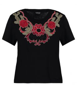 Topshop FLORAL APPLIQUE Camiseta print black