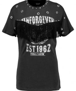 Topshop UNFORGIVEN FRINGE T Camiseta print washed black
