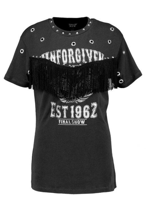 Topshop UNFORGIVEN FRINGE T Camiseta print washed black