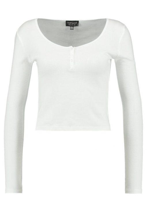 Topshop BUTTON FRONT Camiseta manga larga white