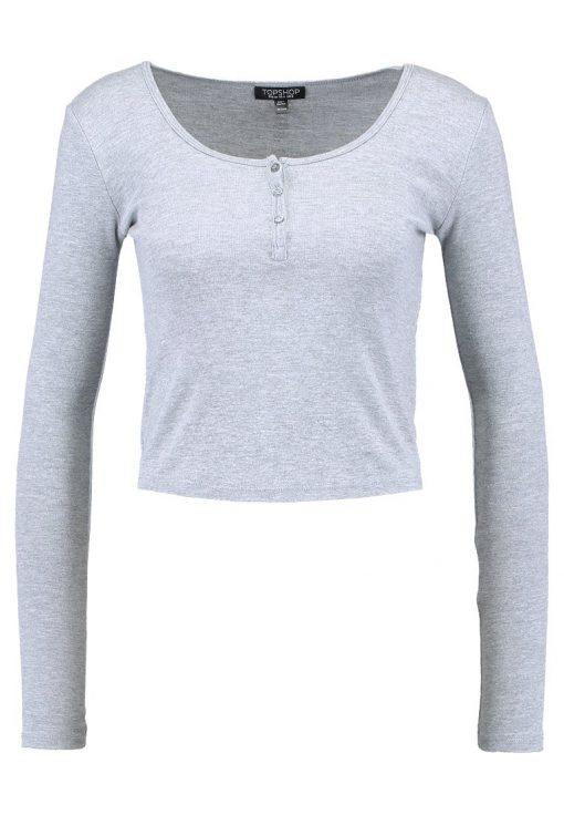 Topshop BUTTON FRONT Camiseta manga larga grey